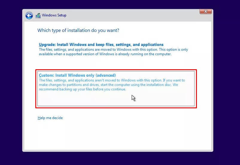 Pilih Custom Install