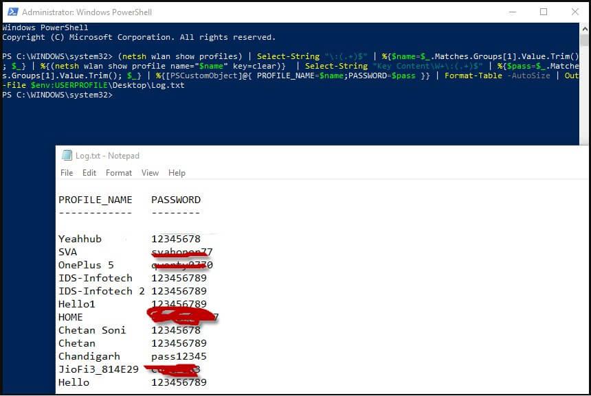 Masukan Kode di Windows PowerShell untuk melihat Semua Password Wifi