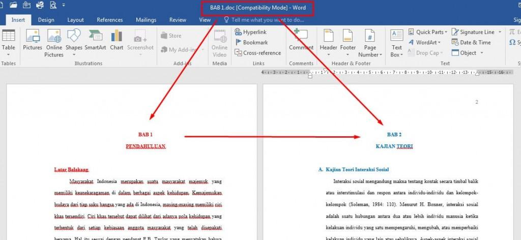 Menggabungkan file Word BAB 1 dan BAB 2 menjadi satu