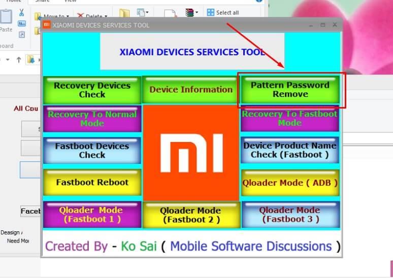 mengatasi lupa kunci pola HP Xiaomi dengan Xiaomi Devices Services Tool