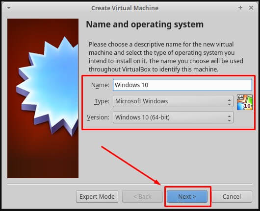 Pilih Windows 10 (64-bit)