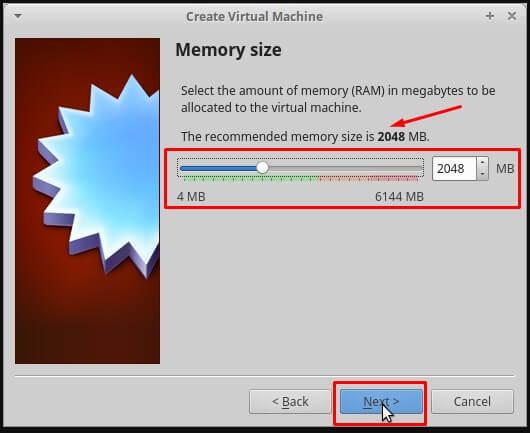 Pilih Memory size sesuai rekomendasi