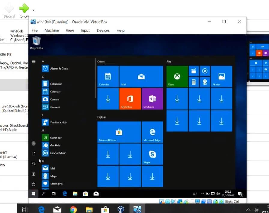 Proses Install Windows di VirtualBox Selesai