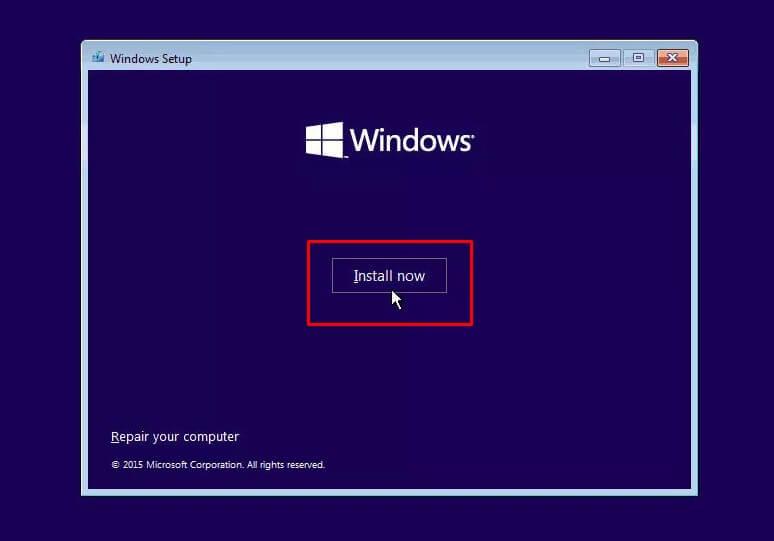 Mulai Install Windows 10