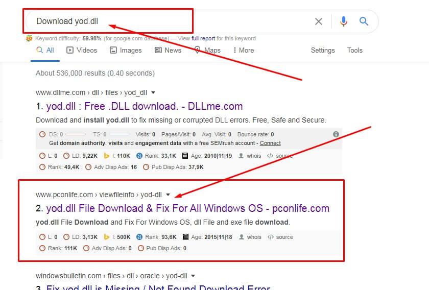 Cari file DLL di Google