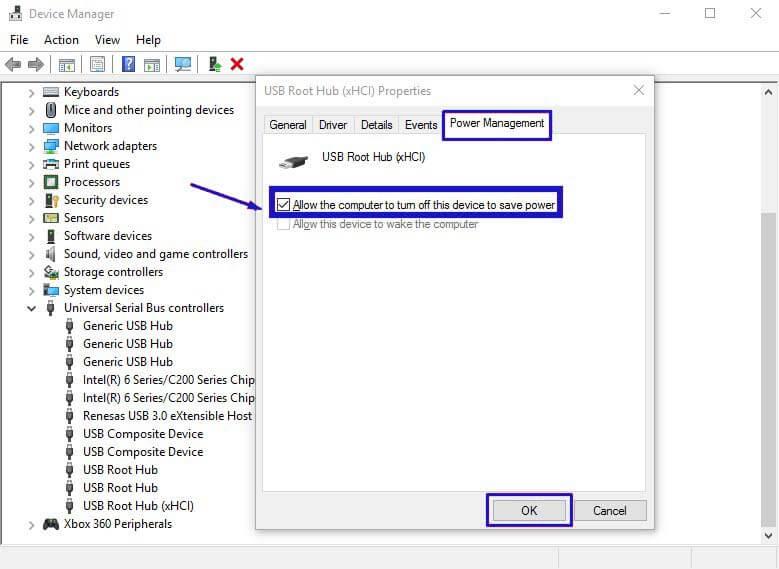 Hilangkan centang di USB Root Hub