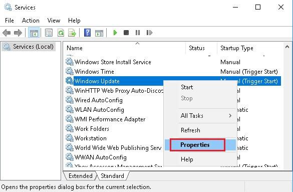 Masuk Ke Windows Update di Services