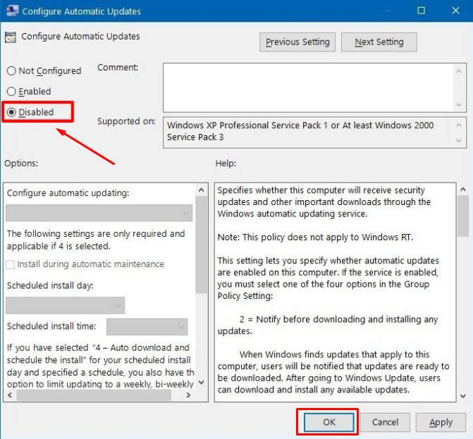 Pilih Disabled di Configure Automatic Updates