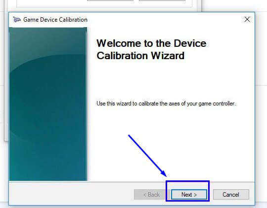 Pilih Next di Device Calibration Wizard