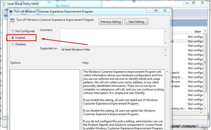 Ubah Enabled di Turn off Windows Customer Experience Improvement Program