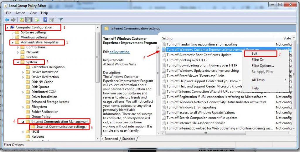 Buka Turn off Windows Customer Experience Improvement Program
