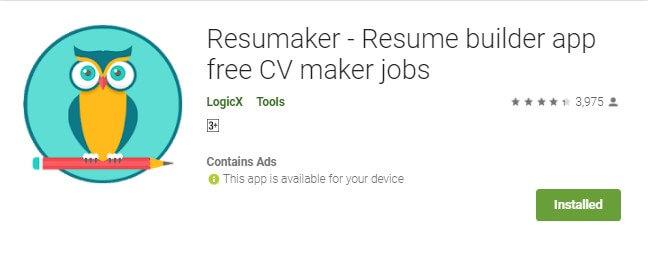 2 Resumaker salah satu aplikasi membuat CV di HP Android