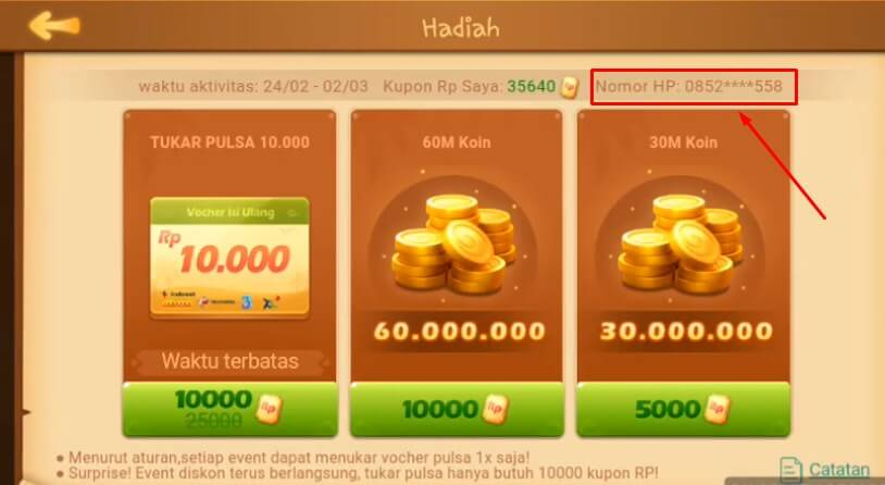 Siapkan Screenshot menu Hadiah