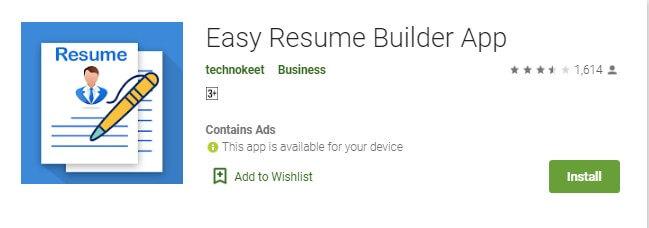 3 Easy Resume Builder untuk membuat CV di HP dengan mudah