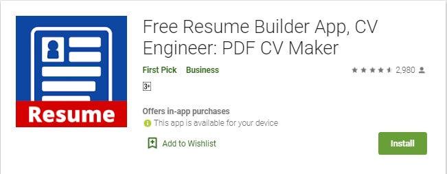 4 CV Engineer adalah aplikasi pembuat CV di HP yang gratis