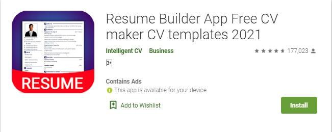 5 Download & Install Resume Builder App Free CV maker CV templates 2021 untuk membuat CV di HP Smartphone