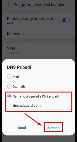 5. Isikan Private DNS dengan dns.adguard.com