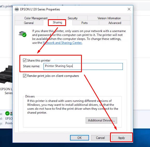 Aktifkan Sharing Printer dengan cara centang di bagian Share this printer