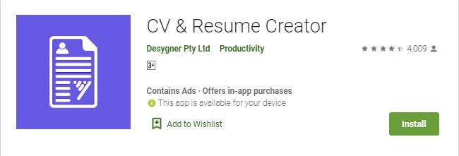 8 CV & Resume Creator merupakan aplikasi pembuat CV di HP Android yang gratis dan mudah dipakai