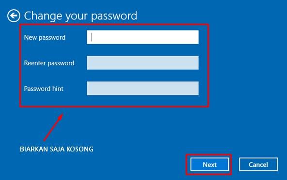 Biarkan Kosong di kolom New Password