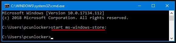 Buka Microsoft Store menggunakan CMD
