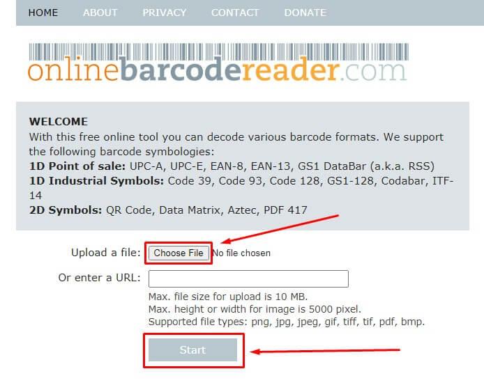 cara scan barcode dan kode QR di HP Android tanpa aplikasi dengan Situs Barcode Reader