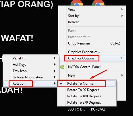 Cara mengembalikkan layar laptop yang terbalik melalui Intel graphic option