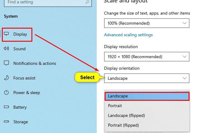 Cara mengembalikkan layar laptop yang terbalik melalui menu Display