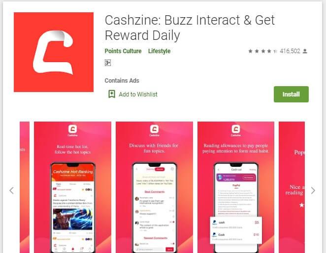 Cashzine Aplikasi penghasil uang langsung ke rekening bank lokal
