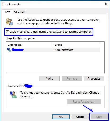 Hilangkan Centang di Users must enter a user name and password