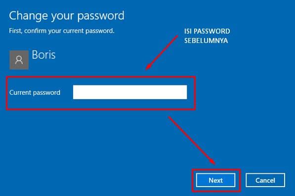 Isi dengan Password Sebelumnya