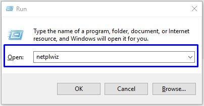 Ketikan netplwiz di Windows Run