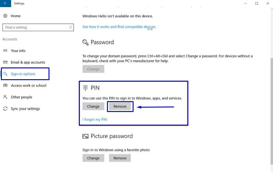 Klik Remove di Opsi PIN pada Sign-in options