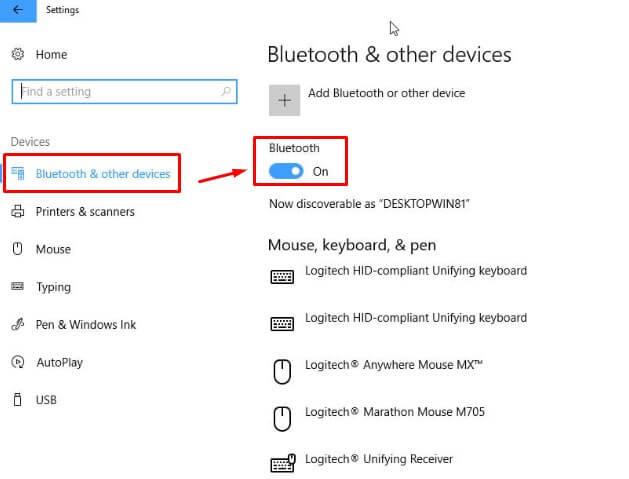 Aktifkan Fitur Bluetooth di laptop Windows 10