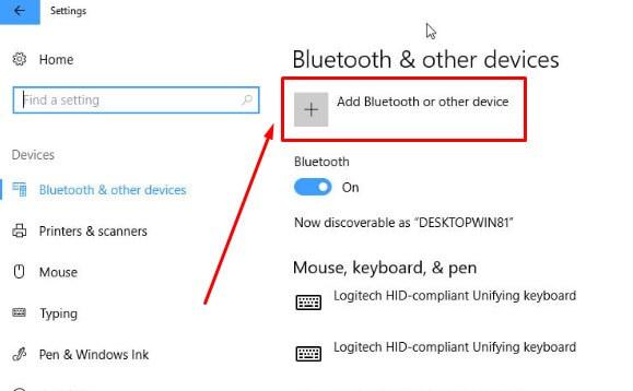 Pilih opsi Add Bluetooth or other device untuk menghubungkan perangkat lewat Bluetooth di laptop Windows 10