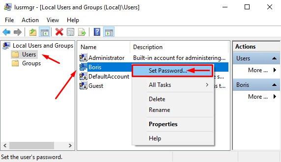 Pilih Set Password di User yang ada