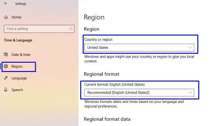 Setting Bagian Region