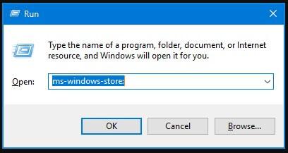 Buka Microsoft Store dari Run