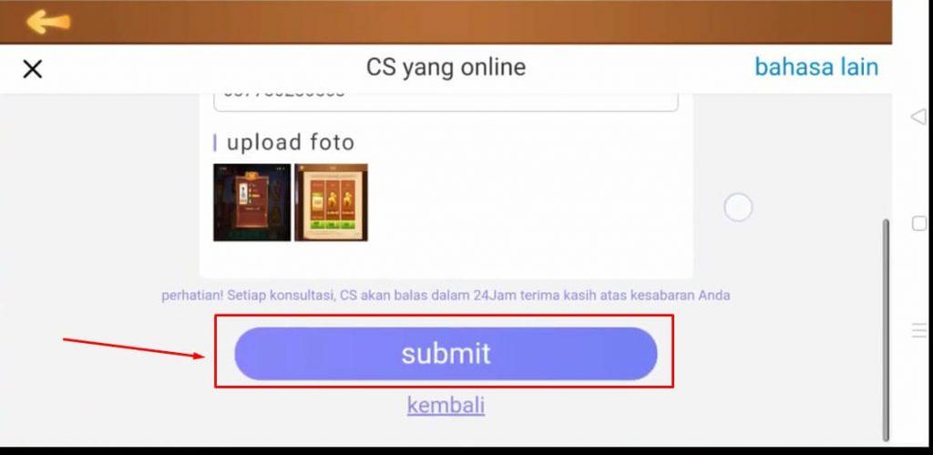 Pilih Submit untuk kirim pesan ke CS