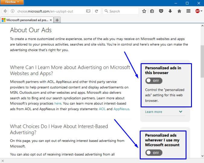 Ubah jadi Off di Personalized ads in this browser