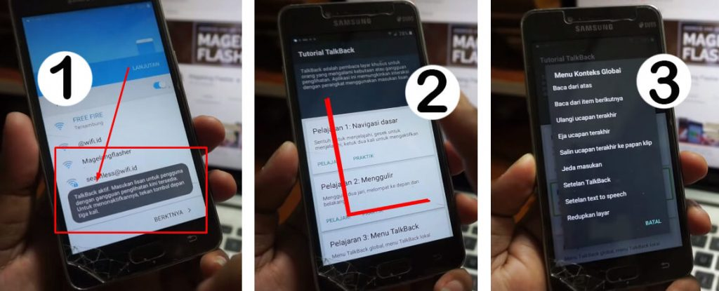 Cara Bypass Akun Goolge FRP Samsung J2 Prime dengan bantuan Fitur TalkBack
