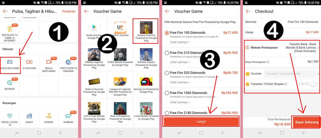 Cara Top Up Diamond Free Fire Melalui Aplikasi Shopee