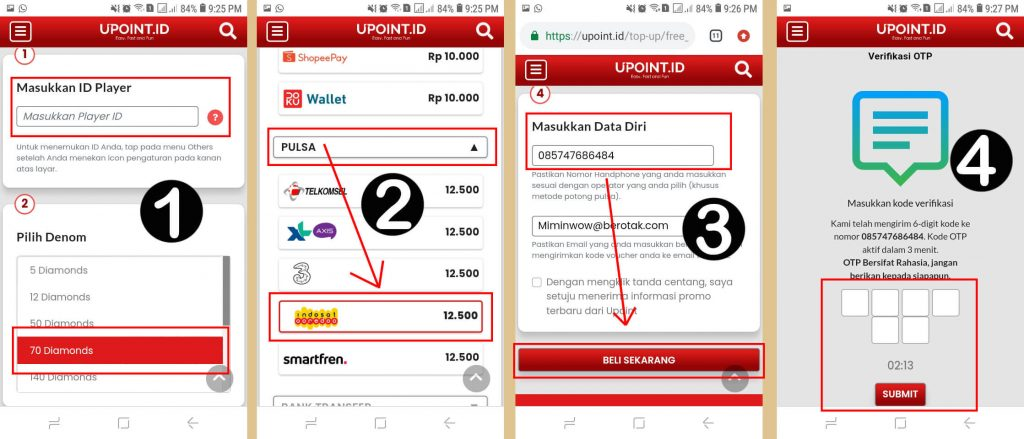 Cara Top Up Diamond Free Fire Pakai Pulsa Indosat lewat UPoint