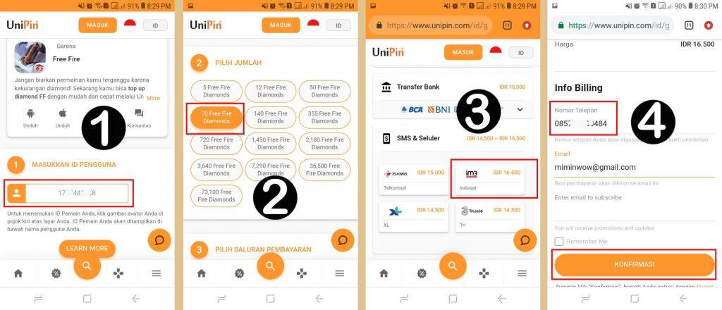 Cara Top Up FF Pakai Pulsa Indosat lewat UniPin
