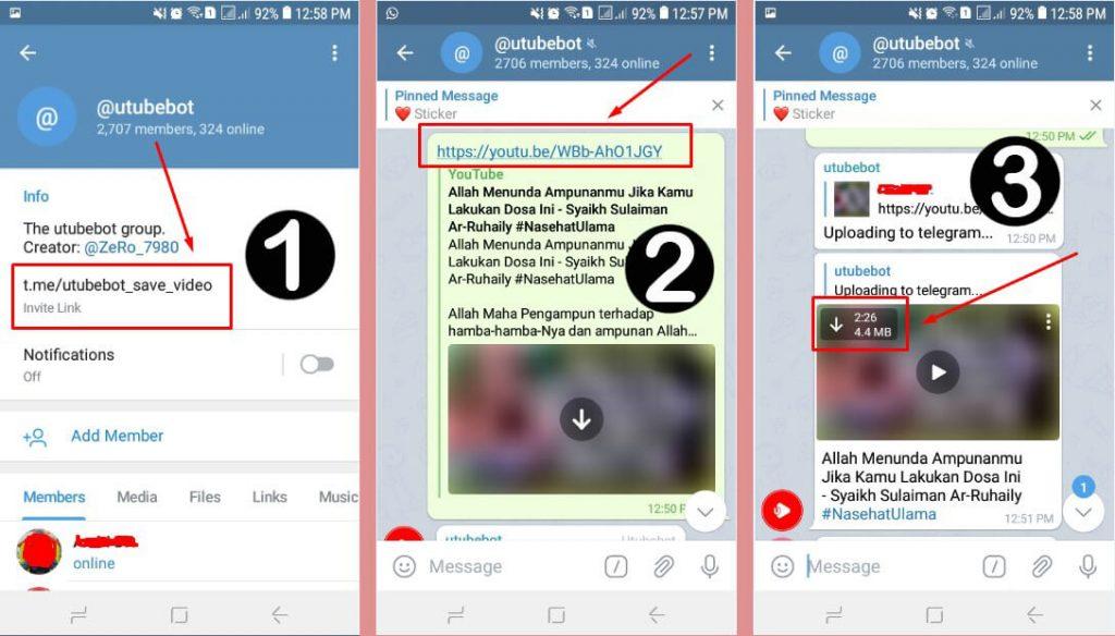 Grup Utubebot untuk download video youtube di telegram