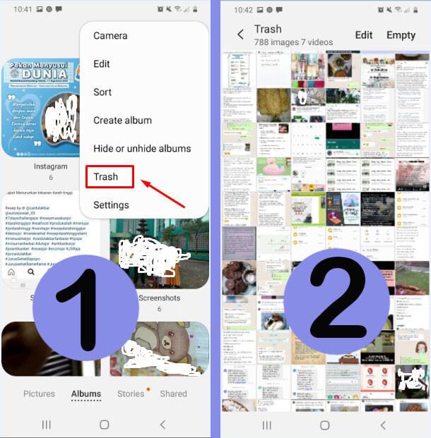 Pilih Trash dan Masuk ke Folder Trash untuk memilih video terhapus yang ingin dikembalikan atau dipulihkan